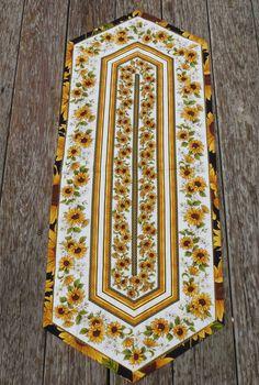 Quilted Tablerunner Quilted Sunflower Stripe 17 x by GabbysQuilts