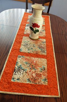 Patchwork Quilted orange and cream table runner autumn table