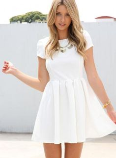 White Party Dress - White Heart Cutout Dress with