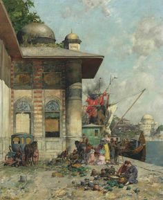 Alberto Pasini (Italian, 1826-1899).  Market day, a capriccio of the Old City Shores, Constantinople