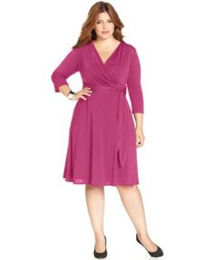 413a41cd4d2ee1 NY Collection Plus Size Faux-Wrap Dress - Dresses - Plus Sizes - Macy s  Summer