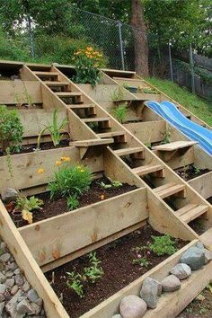 to build terrace garden beds on a hillside. We don't have a hillside like this, but this is a really great idea.how to build terrace garden beds on a hillside. We don't have a hillside like this, but this is a really great idea. Hillside Garden, Terrace Garden, Garden Plants, Hill Garden, Planter Garden, Sloping Garden, Garden Boxes, Planter Ideas, Planter Boxes