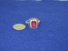 Vintage Sterling Silver Created Ruby with Accents Ring Size 7