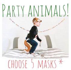 Party Animals  Partis Pack5 masques par oppositeoffar sur Etsy, $85.00