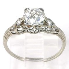 Art Deco 18k Filigree White Gold Diamond Solitaire Engagement Ring from backintime on Ruby Lane