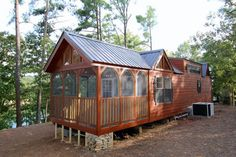 It is 43 feet long and just under 11 feet wide. It can easily accommodate a small family or a couple looking for a cozy rural retreat.