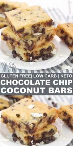 Easy to make low-carb and gluten-free chocolate chip coconut bars are great alternative to regular chocolate chip cookie bars. Enjoy one fresh out of the oven with a glass of almond milk! Desserts Keto, Easy Gluten Free Desserts, Easy Desserts, Dessert Recipes, Taco Dessert, Chocolate Chip Cookies, Keto Chocolate Chips, Gluten Free Chocolate, Chocolate Desserts