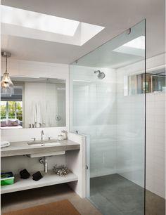 Modern, floating glass, open vanity, skylight