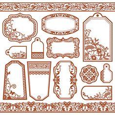 Hot off the Press - Copper Color Me Paper - Tags & Borders Printable Labels, Printable Paper, Printables, Plant Labels, Vintage Scrapbook, Paper Tags, Vintage Labels, Stickers, Smash Book