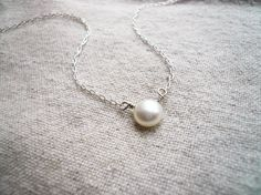 Perfect Pearl Necklace - Fresh Water Pearl and Sterling Silver - Sweet and Simple Dainty Jewelry. $27.00, via Etsy.