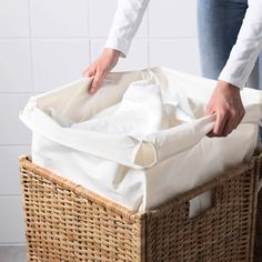 IKEA - BRANÄS, Laundry basket with lining, rattan, The plastic feet protect the laundry basket from moisture. Each laundry basket is woven by hand and is therefore unique. Holds up to 9 kg of laundry. Tested and approved for bathroom use. Rattan, Sisal, Clothes Basket, Homekeeping, Home Repairs, Small Storage, Kos, Home Improvement Projects, Spring Cleaning