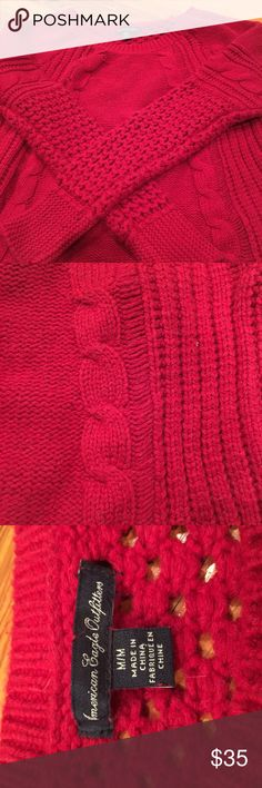 Multi-stitch American Eagle sweater! Super cute red sweater with so many different stitches!!! There's cable knit and a bunch of other types which I love! A lot of detail in the sleeves and front! The back has an open stitch so you can wear a colored camisol or cute bralette under! Only worn like twice hoping to get a little money back American Eagle Outfitters Sweaters