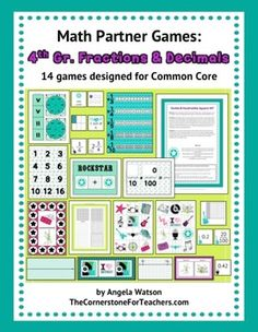 $ 4th Grade Fractions & Decimals Math Partner Games: 14 Game. Great for math centers!!!