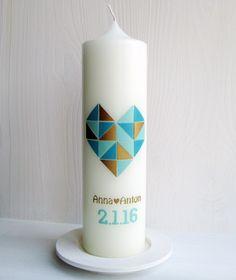 Hochzeitskerzen & Beleuchtung - Hochzeitskerze, Herz in Lieblingsfarben - ein Designerstück von waldlichter bei DaWanda