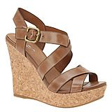 Neutral wedges for summer! Plus I love the criss-cross strap in front.