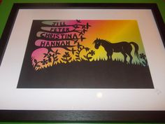 Original, hand drawn papercut. Family tree with horse in meadow by Nina Byers