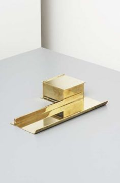 Karl Heubler; Brass and Glass Inkwell and Integrated Dish for Reimann-Schule, 1927.