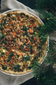 Hearty Christmas Morning Quiche (like stuffing in quiche form!), paleo, gluten free, grain free, dairy free by barerootgirl.com
