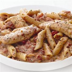 Creamy Parmesan & Sun-Dried Tomato Chicken Penne - this dish was DELICIOUS! Got my mix at HEB. I made the white wine version (sub 1/2 cup of white wine for 1/2 cup of the cream)…so good!