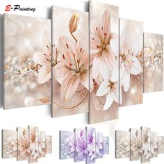 Abstract Flower Canvas Wall Art Canvas Print Wall Decal Painting Home Decor Decorations Bedroom Office Artwork Large Living Room Canvas Prints, Canvas Art Prints, Canvas Wall Art, Winter Princess, Art Pour Salon, Images Murales, White Lily Flower, Lotus Flower, Office Artwork