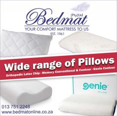 -Orthopedic Latex Pillow perfected formulated to support your neck and shoulders. -Orthopedic Memory Foam conventional pillow molds to your individual shape to fit you perfectly. -Orthopedic Memory foam contour pillow with reflex foam support for the ultimate neck and shoulder support aiding in spine tension relief. -Genie contour Pillow made of natural latex and custom anti-mite/anti-allergy fabric. Contour shape that aligns your head in the perfect sleeping position for the best night's…