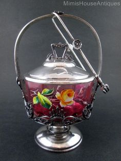 Antique CRANBERRY enamel PICKLE CASTOR - Rose, Daisy, Bluebell -  James W. Tufts #JamesWTufts