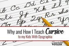 I teach cursive to my kids with dysgraphia because it has six main advantages over manuscript. Improve Your Handwriting, Cursive Handwriting, Handwriting Worksheets, Handwriting Practice, Penmanship, Handwriting Activities, Teaching Cursive Writing, Writing Skills, Writing Letters