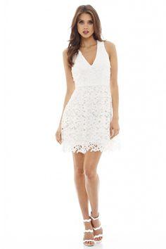 Cream Plunge V-Neck Crochet Lace Mini Dress<br/><div class='zoom-vendor-name'>By <a href=http://www.ustrendy.com/AXParisUSA>AX Paris USA</a></div>