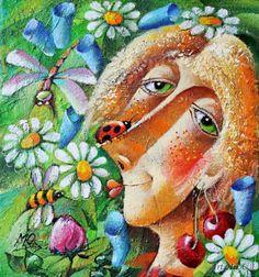 Yury Matsik - Summer Russian Folk Art, Illustration Art, Illustrations, Flower Art, Yuri, My Arts, Artists, Divas, Flowers