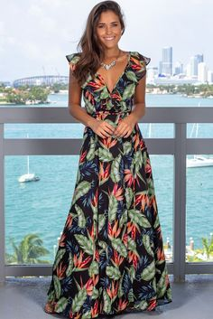 Get this pretty Black Tropical Wrap Dress from Saved by the Dress Boutique. This wrap maxi dress features a fabulous tropical print with ruffle detail. Dresses Elegant, Sexy Dresses, Cute Dresses, Casual Dresses, Fashion Dresses, Dresses For Work, Summer Dresses, Awesome Dresses, Formal Dresses