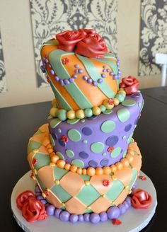Fancy Cakes By Lauren - stripes, polkadots, & harlequin diamonds