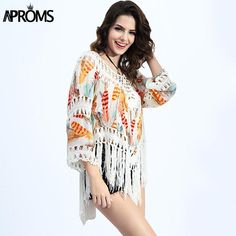 New Summer Women Blouses Sexy V-Neck Feather Print Lace Tassel Crochet Blouse Tops