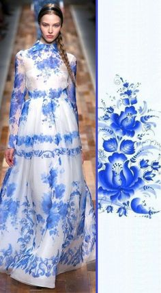 Russian Gzhel motifs by Valentino. Gzhel is a Russian folk painting and porcelain manufacture, famous for its blue patterns on a white background.