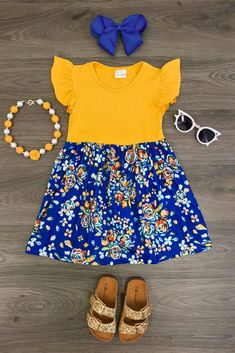 Mustard/Navy Floral Ruffle Dress