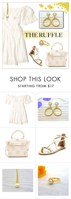 """""""Ruffled Mini Dress-White Gold-Evangelos Jewellery"""" by evanangel ❤ liked on Polyvore featuring Hollister Co., ZAC Zac Posen, Nine West and Barneys New York"""