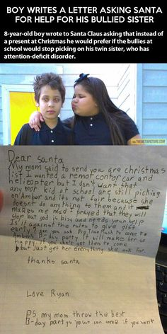 Funny pictures about Boy asks Santa to help his bullied sister. Oh, and cool pics about Boy asks Santa to help his bullied sister. Also, Boy asks Santa to help his bullied sister. Sweet Stories, Cute Stories, Happy Stories, I Smile, Make You Smile, Human Kindness, Touching Stories, We Will Rock You, Gives Me Hope