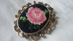 Rose Petit Point Vintage Brooch Pin