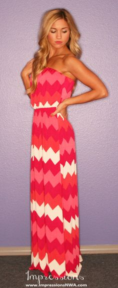 Palm Beach Chevron Stripe Maxi Dress - Impressions