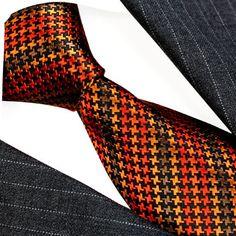 36081-Lorenzo-Cana-Italian-Designer-Neck-Tie-100-Silk-Orange-Brown-Black
