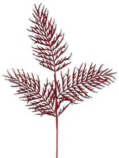Red Glittered Pine Spray | Winter Wedding Decorations | Same Day Shipping