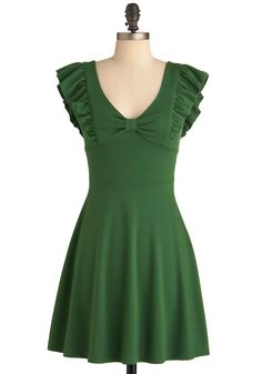 A-maizing Harvest Dress in Green - Mid-length, Green, Solid, Bows, Ruffles, Party, A-line, Cap Sleeves