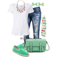 White Tee & Funky Jewels by stephiebees on Polyvore ... Minus shoes
