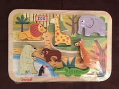 JANOD Holzpuzzle 7022 Steckpuzzle Tiere Zoo Zootiere 18Mon+ | eBay