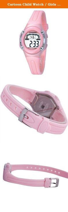 Cartoon Child Watch / Girls Boys Student Watches / Waterproof Sport Watch / electronic watch-pink. Watches Mirror Material: plexiglass mirror Movement Type: Electronic Watch Type: Children Style: Cute Strap Material: Rubber Shape: Round display: digital waterproof depth: 30 meters life waterproof additional features: 24 hours indicates the chronograph alarm calendar table debit formula: buckle bottom of the table type: crown type: dial thickness: 12mm dial diameter: 30mm pop elements: LED...