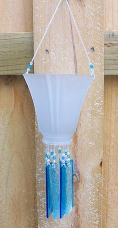 Items similar to Vintage Lampshade Upcycled into a Windchime with Turquoise Stained Glass Chimes, Glass Beads and Swarovski Crystals on Etsy Glass Wind Chimes, Diy Wind Chimes, Glass Garden Art, Glass Art, Glass Lamps, Bottle Art, Bottle Crafts, Vintage Lampshades, Image Glass