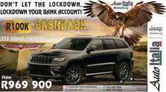 R100 000 CASHBACK, CRAZEE!  After the Corona lock down BABY!! Jeep Grand Cherokee, Cars, Corona, Autos, Car, Automobile, Trucks