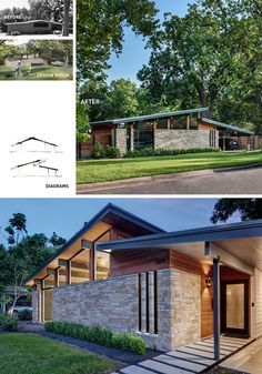 Century Modern Architecture BEFORE + AFTER - Matt Fajkus Architecture have recently completed the contemporary remodel of an original Mid-Century Modern house in Austin, Texas. Modern Architecture House, Modern House Design, Sustainable Architecture, Midcentury Modern House Plans, Modern Bungalow House Plans, Modern House Exteriors, Modern Floor Plans, Pavilion Architecture, Bungalow House Design