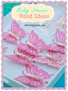 5 Adorable and Simple Baby Shower Menu Ideas. Love the rocket candy butterfly's!!! #babyshower #babyshowermenu #recipe #partyideas