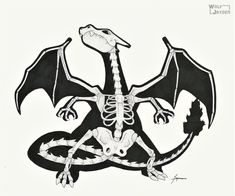 Skeletal Charizard by WolfJayden on DeviantArt Skeleton Drawings, Skeleton Art, Ghost Pokemon, Cute Pokemon, Amazing Drawings, Cool Drawings, Charizard Tattoo, Pokemon Tattoo, Cool Pokemon Wallpapers