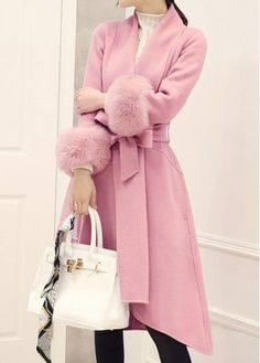 Pink Belted Asymmetric Hem Faux Fur Cuff Coat on sale only US$47.23 now, buy cheap Pink Belted Asymmetric Hem Faux Fur Cuff Coat at liligal.com